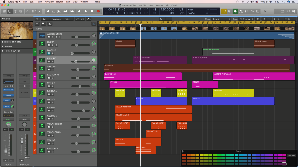 Mixing audio stems in Logic Pro X.