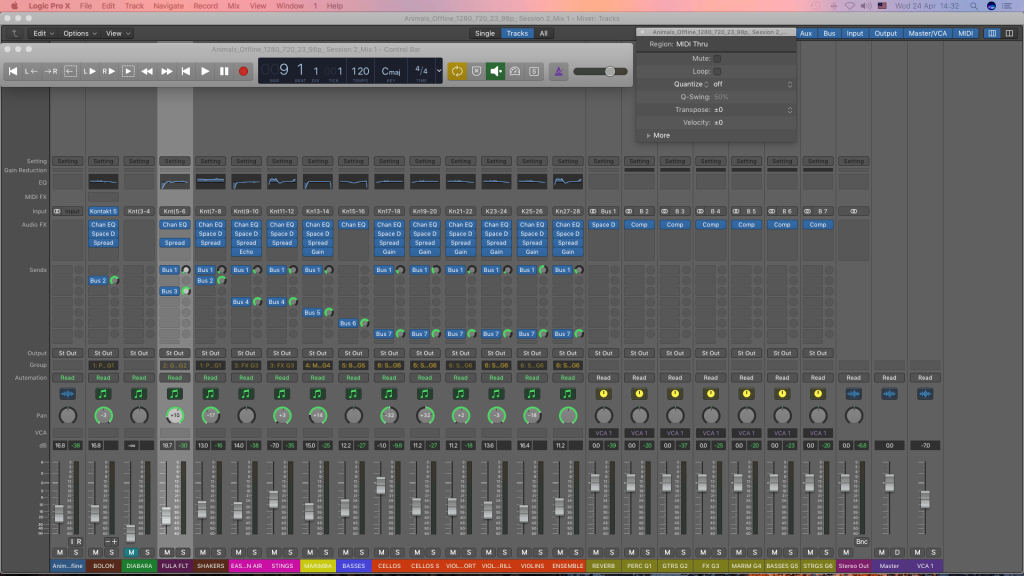 Mixing audio stems in Logic Pro X